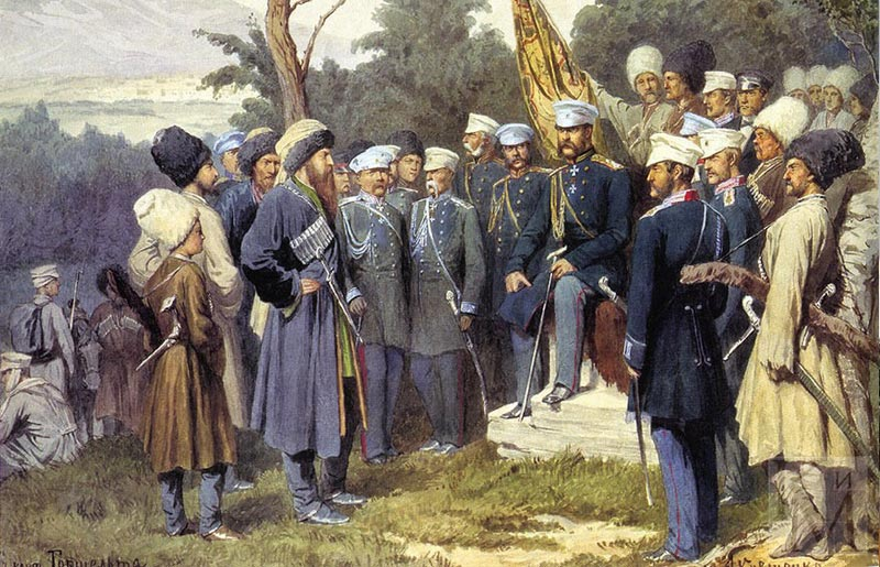 Imam Shamil surrendered to Count Baryatinsky on August 25 1859 by Kivshenko Alexei Danilovich
