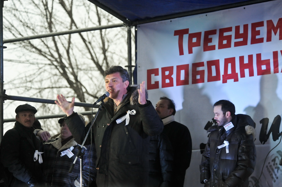 Boris Nemtsov at the Moscow rally at the Bolotnaya square 10 Dec 2011